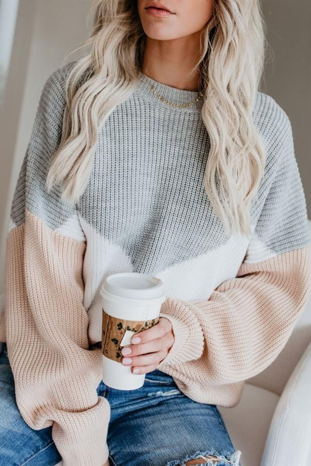 Patchwork Round Neck Long Sleeve Sweater
