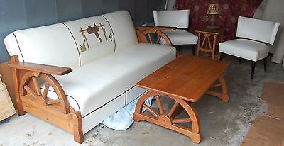 Vintage Wagon Wheel Couch W Matching Coffee End Tables Cowboy Furniture Furniture Couch End Tables