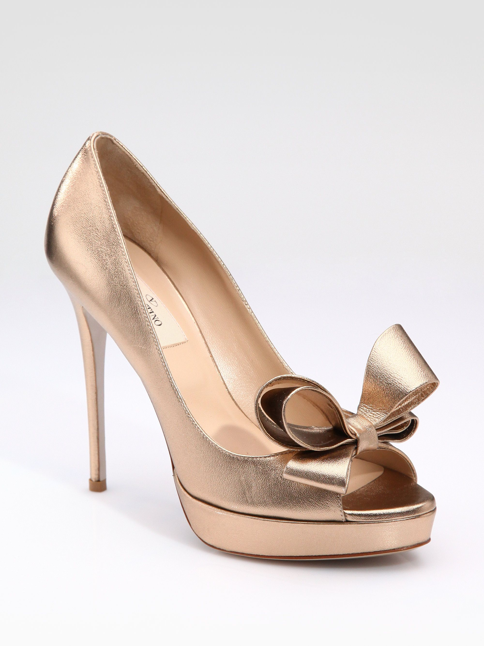 d3e80ed8af3d Valentino Couture gold heels with gold leather bow
