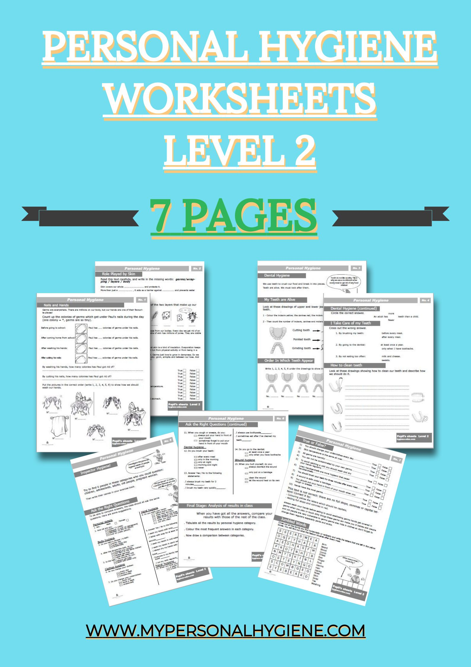 Level 2 Of Personal Hygiene Worksheets For Kids Included