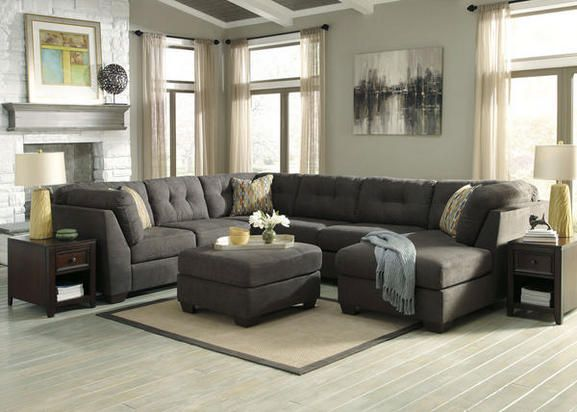 Delta City 3 Pc Gray Sleeper Sectional Reverse