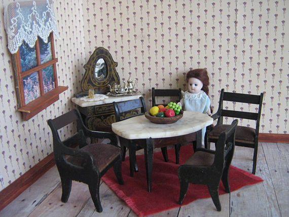 Antique German Biedermeier Dollhouse Dining Room Marble Top Amazing Dining Room In German Decorating Design