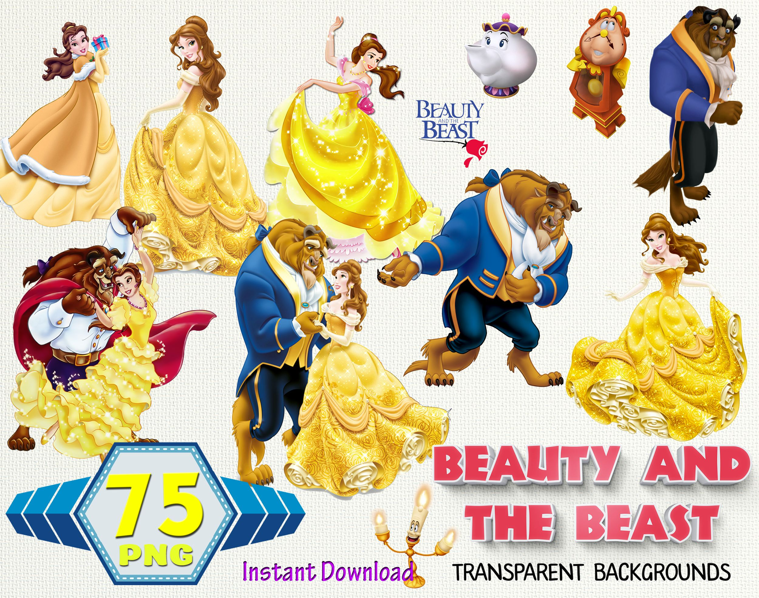 Beauty And The Beast Clipartbeauty And The Beast Etsy Hello Kitty Clipart Beauty And The Beast Hello Kitty Pictures