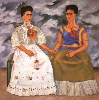 Frida Kahlo - Las Dos Fridas - 1939 Autorretrato duplo da artista, pintado após a descoberta de sua doença cardiaca, 1939.
