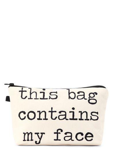 Slogan Print Zipper Cosmetic Bag Cosmetic Bag Slogan Makeup Bag