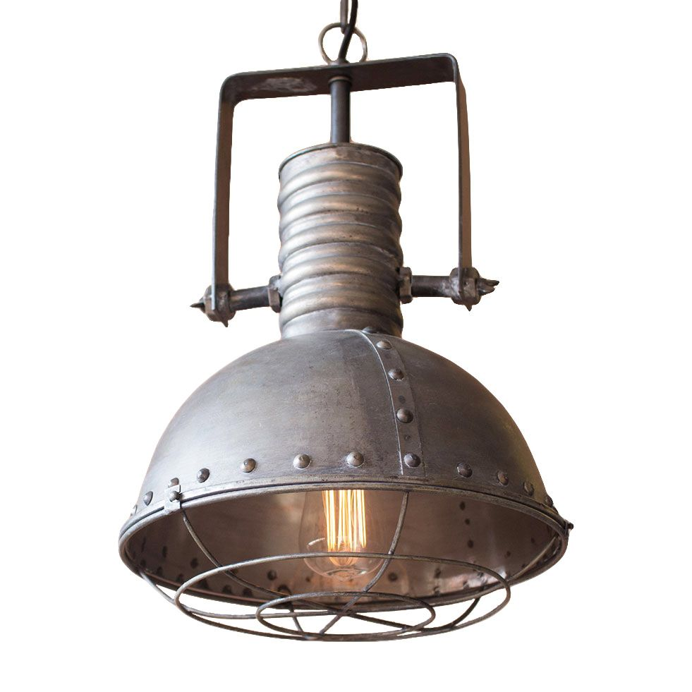 Industrial Caged Pendant With Rivets: Even The Kitchen Can Benefit From Some Rugged Industrial