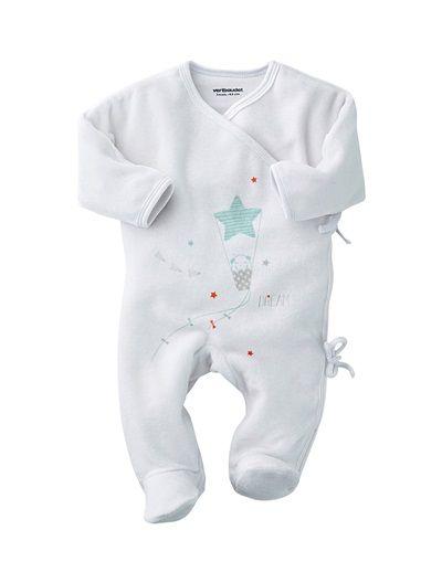 82bc728fab98f Pyjamalin forme pyjama bébé nouveau-né BLANC+VERT AMANDE - vertbaudet enfant