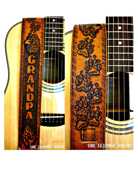 Custom Designed Leather Guitar Strap with by TheLeatherSmithy