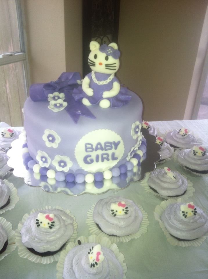 Hello Kitty baby shower cake and cupcakes.