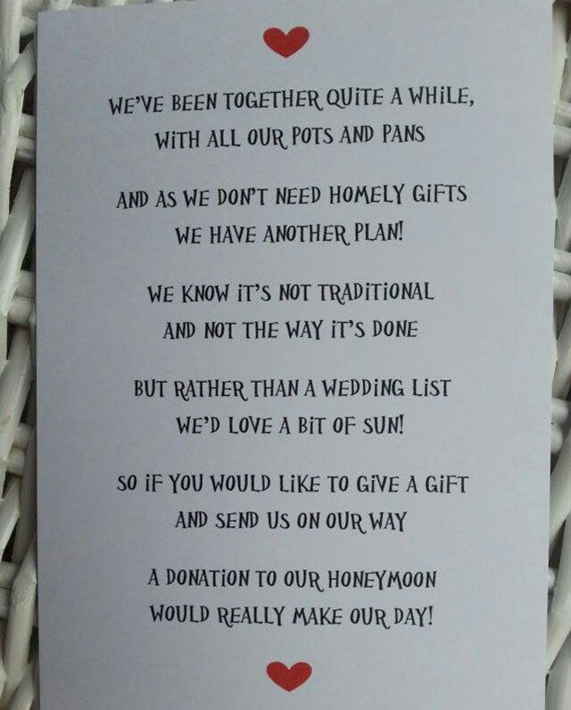 Nontraditional Honeymoon Help Instead Of Wedding Gifts What Is