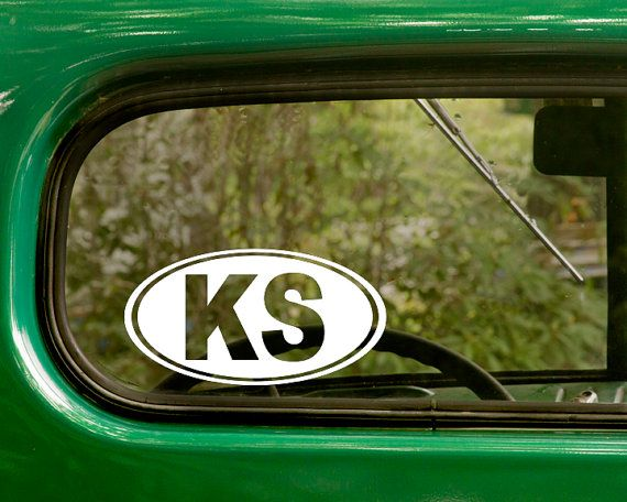 2 ks kansas decals oval stickers for car truck jeep rv bumper window laptop 4x4