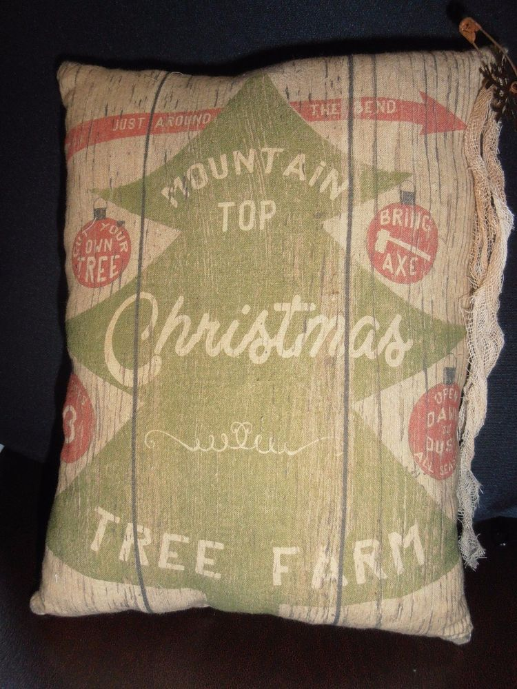 Accent PilloW Advertisement Mountain Top Xmas Tree Farm Primitive Country Decor #nannysattic15 Ebay