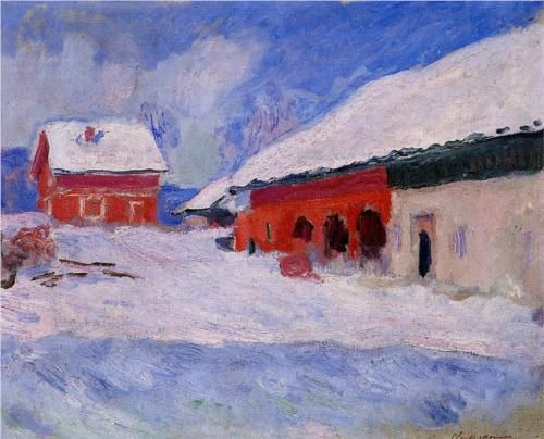 Red Houses at Bjornegaard in the Snow, Norway - Claude Monet