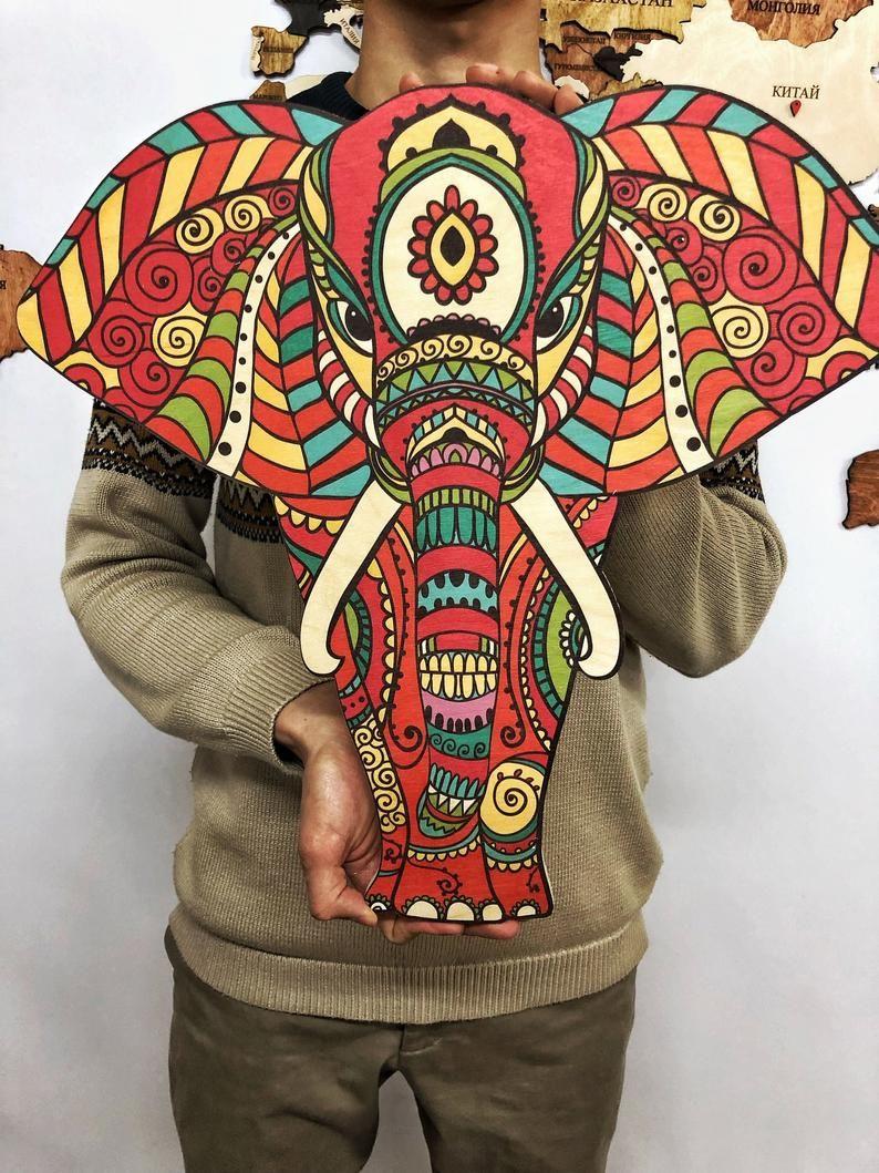 Elephant Decor, Elephant Wall Decor, Mandala Elephant, Engraved, Wood Wall Art, Indian Decor, Living room, Animal, Mothers Day Gift images