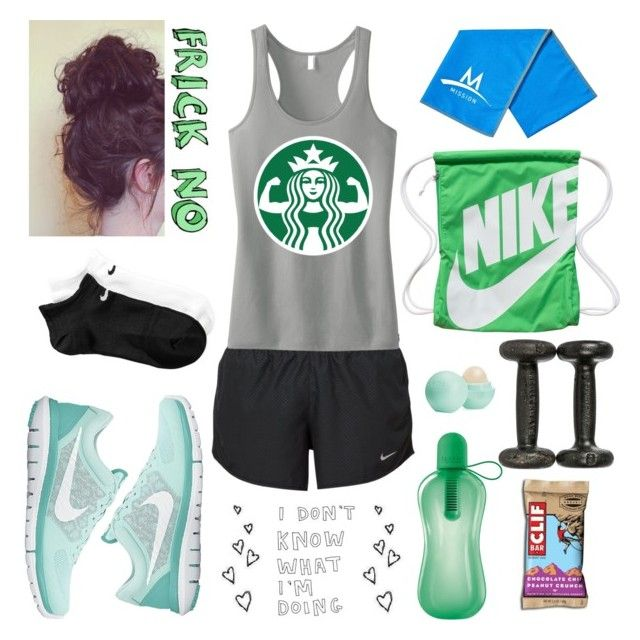 """""""#gettingfitcontest"""" by jazziwheat ❤ liked on Polyvore featuring NIKE, Eos, women's clothing, women's fashion, women, female, woman, misses, juniors and gettingfitcontest"""