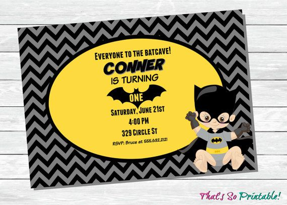 First Birthday Batman Invitation