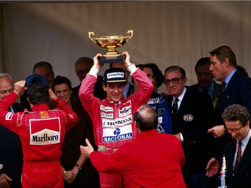 Ayrton Senna - winner of the Grand Prix Monaco 1991 with Rainier and Stephanie