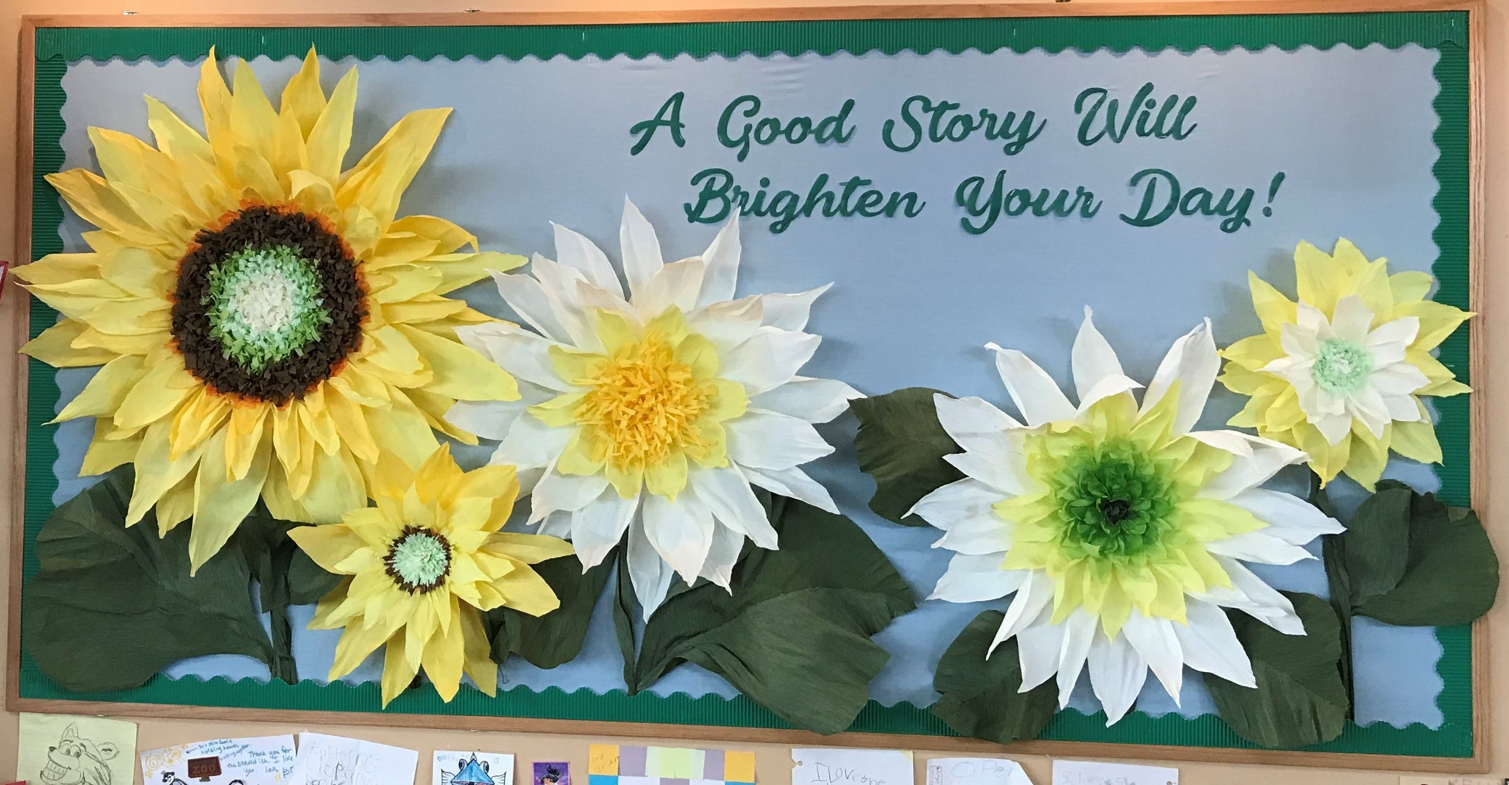 Library Bulletin Board Flowers Made With Crepe Paper Sunflower