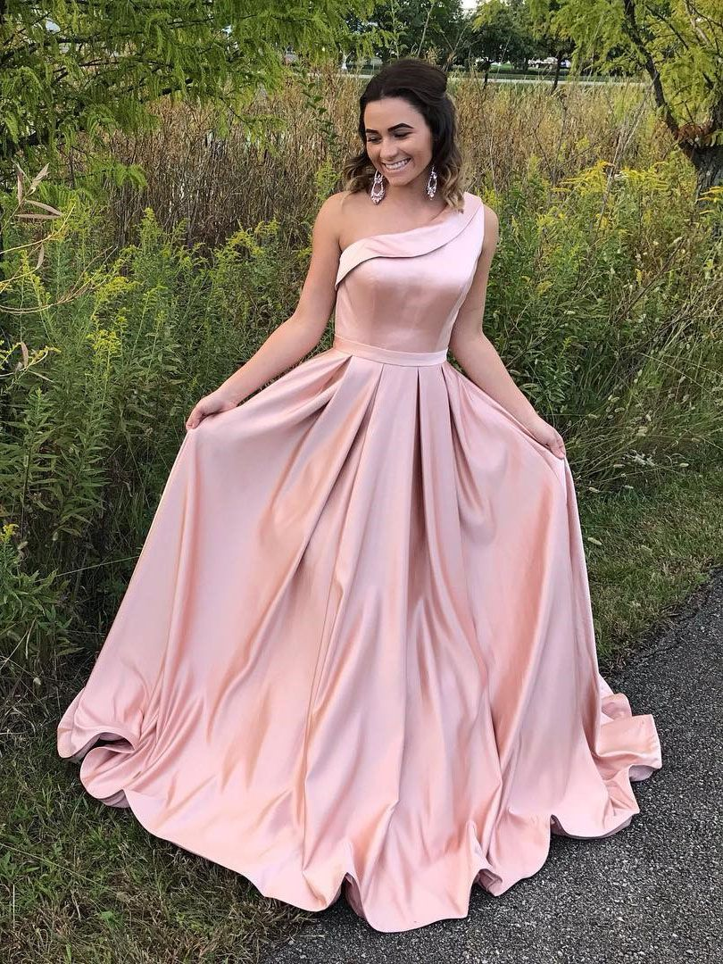 A-Line One Shoulder Pleated Pink Satin Prom Dress with Ruffle ...