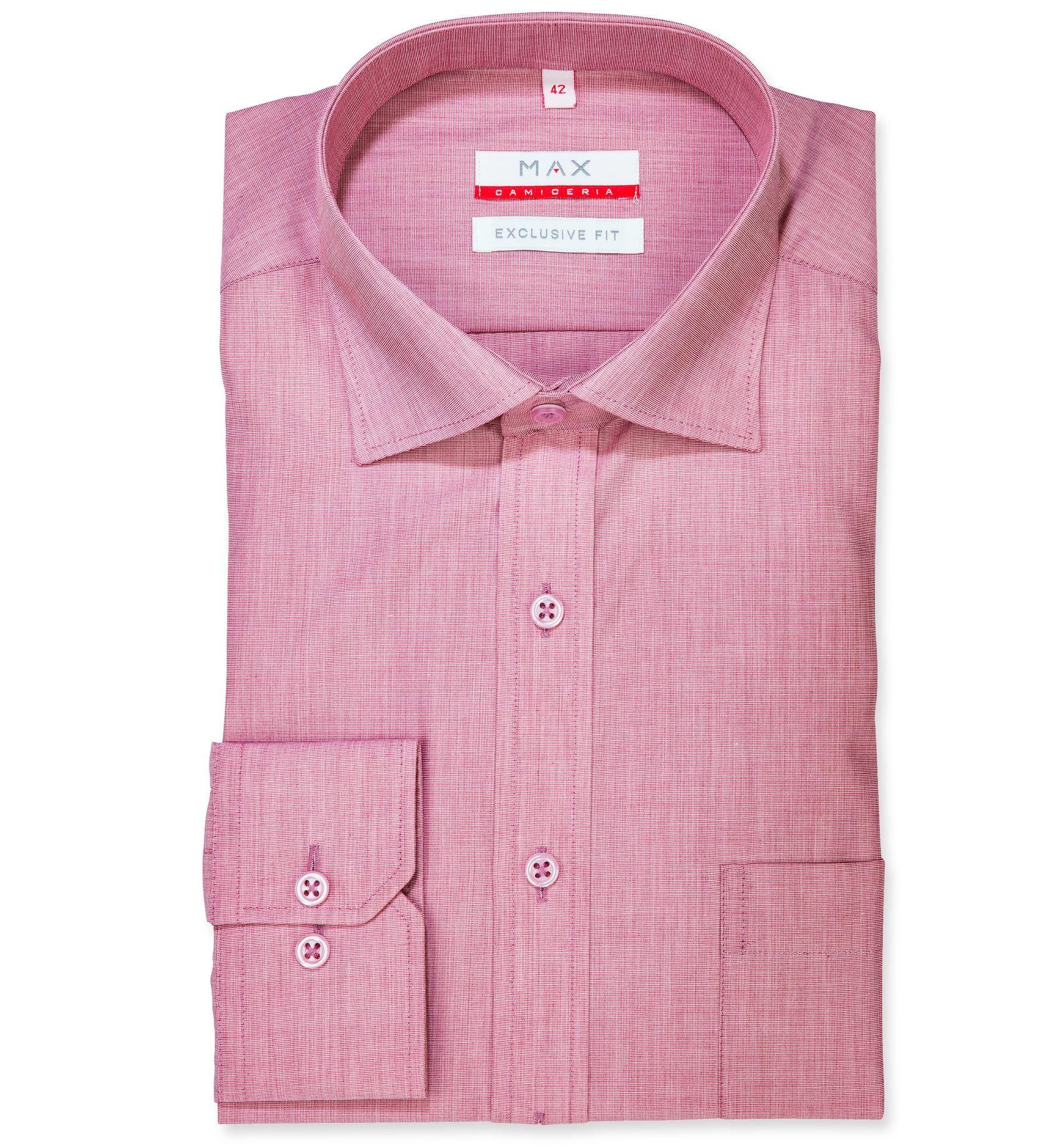 72a552bf95c9 Modern Fit polopriliehavá košeľa Ružovobordová jednofarebná 100% bavlna  Filafil (plátno)