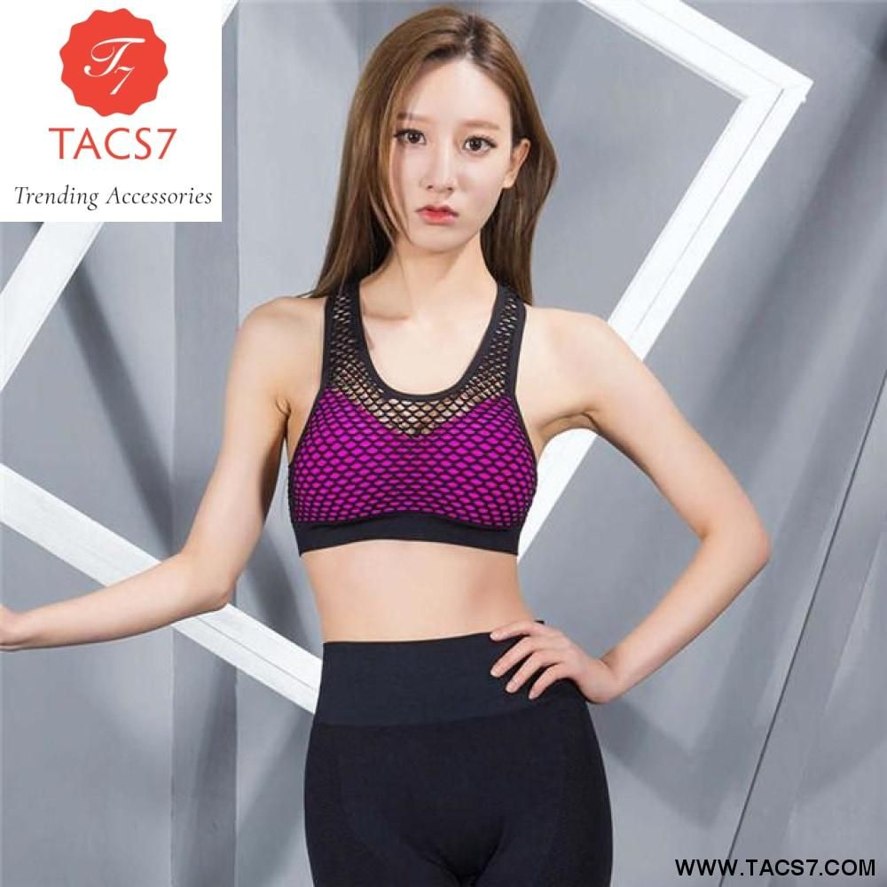 56c08b561c Mesh Hollow Out Breathable Yoga Bras Sports Bra Fitness Shockproof Running  Vest Gym Push Up Bra Gym Tank Top