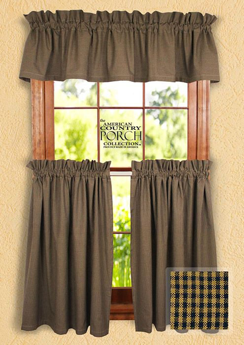The Country Porch Features Cottage Navy Minicheck Curtain Valances From The American Country Porch Collection These American Curtain Country Checks In 2019