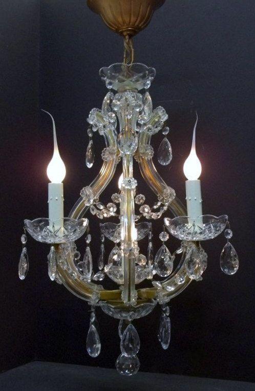 1960s Italian Crystal Chandelier Four Light Venetian Chandelier