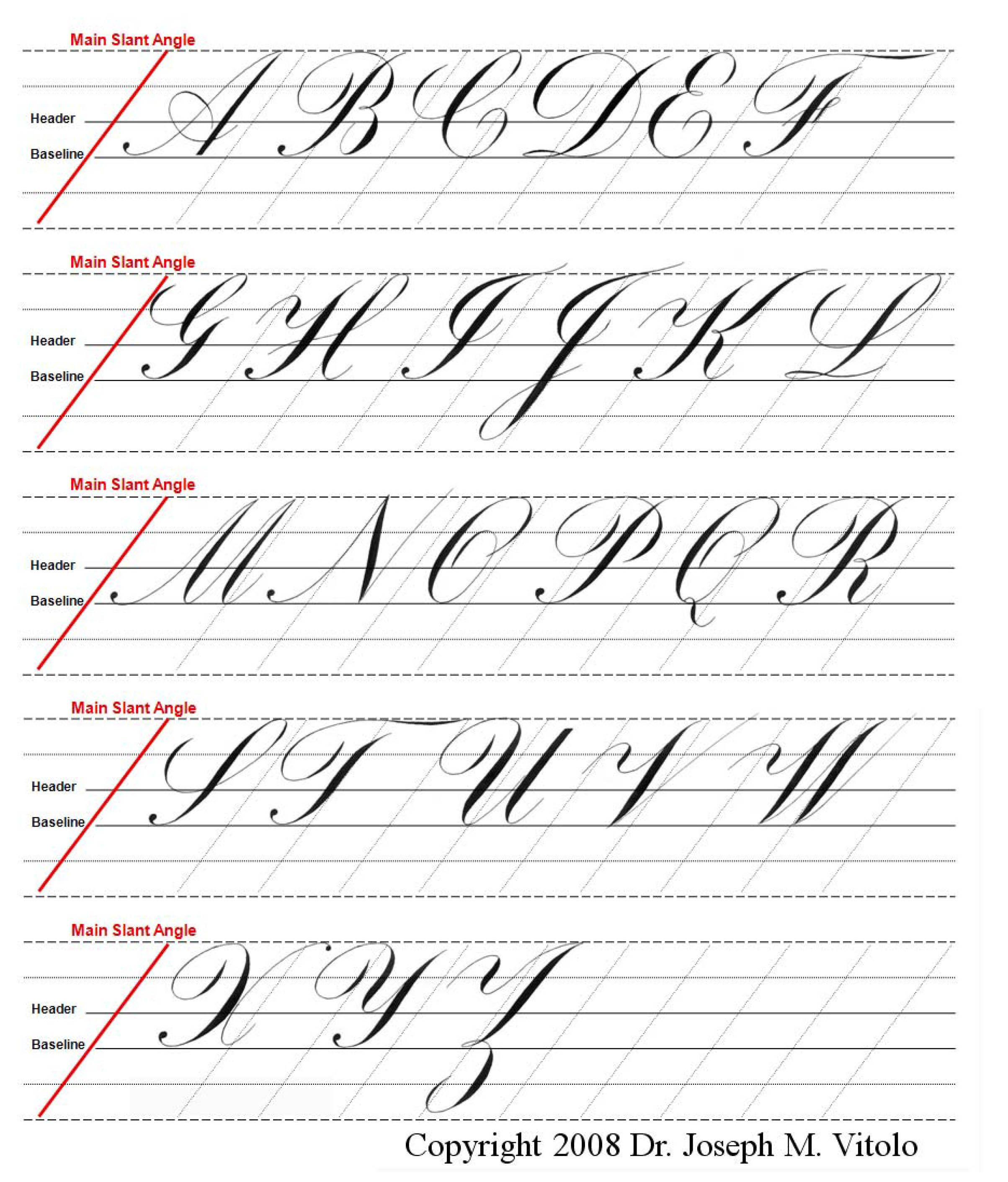 Uppercase Alphabet In Copperplate Guidelines Practice
