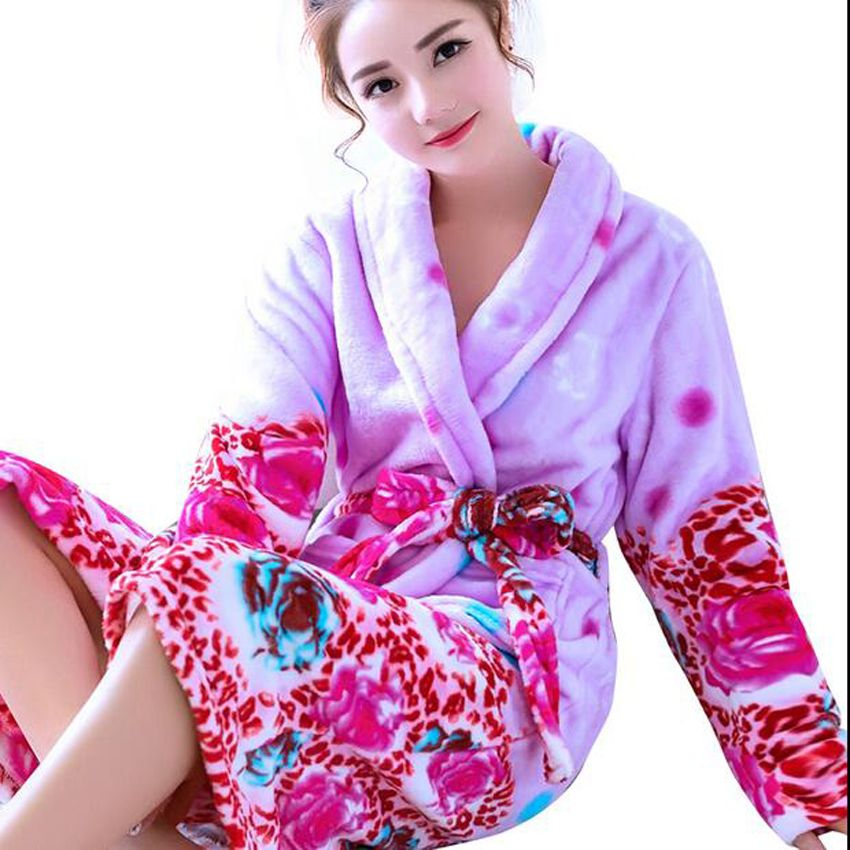 45e45c1db7 Women Nightwear Long Bath Robe Coral Fleece Nightgown Women Winter Warm  Bathrobe Kimono Dressing Gown Sleepwear Bridesmaid Robes