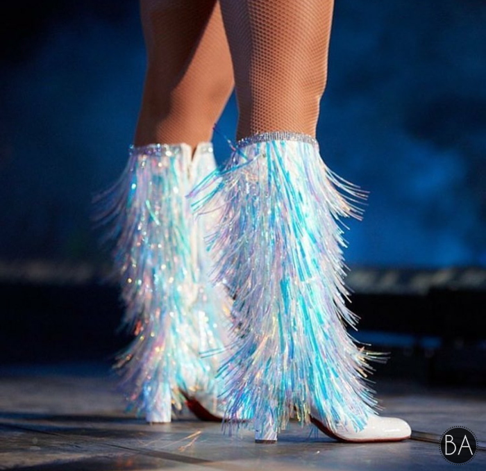 e2c422908768 Beyoncé holographic boots - Coachella 2018 . . .  beyonce  coachella   beychella  balmain  louboutin