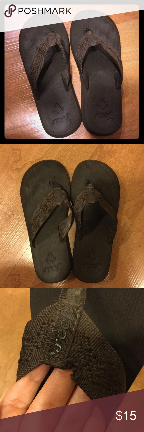 e18896a0824e Reef flip flops Reef flip flops slippers sandals size 7 in dark brown. Very  comfortable and in good condition. Small rip on front right by big toe area  as ...