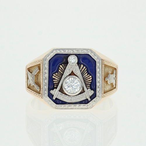 10k Gold /& Gold Filled Masonic Enamel Vintage Blue Lodge Master Mason Stickpin
