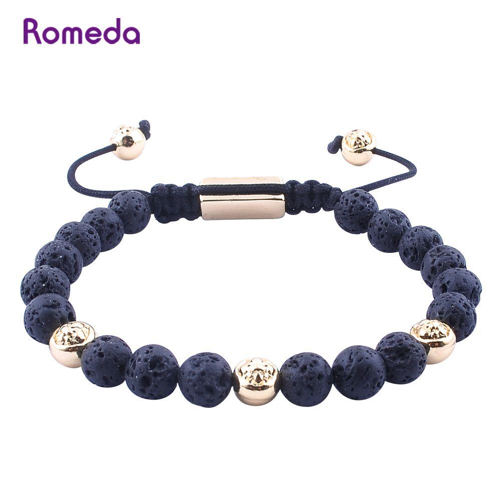 Romeda mens cool bracelets mm volcanic stone trendy handwoven rope