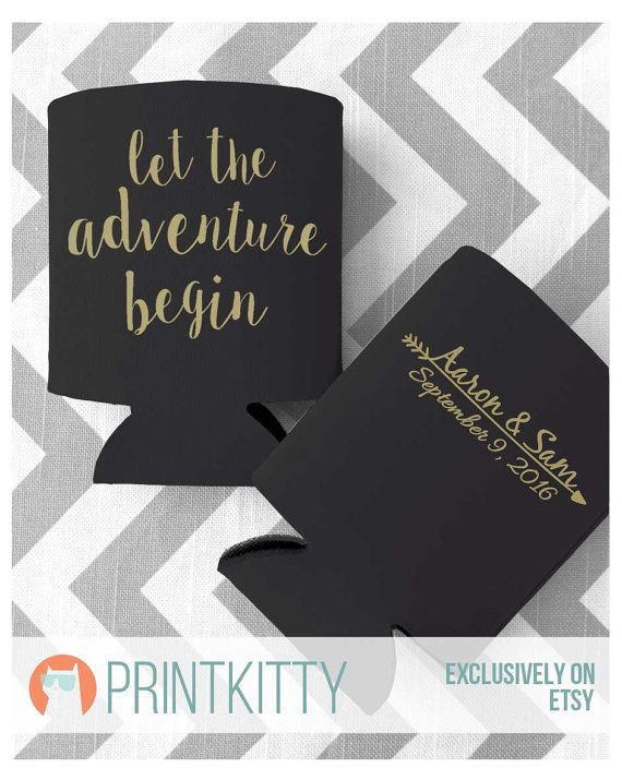 Let The Adventure Begin Personalized Wedding Koozies By PrintKitty