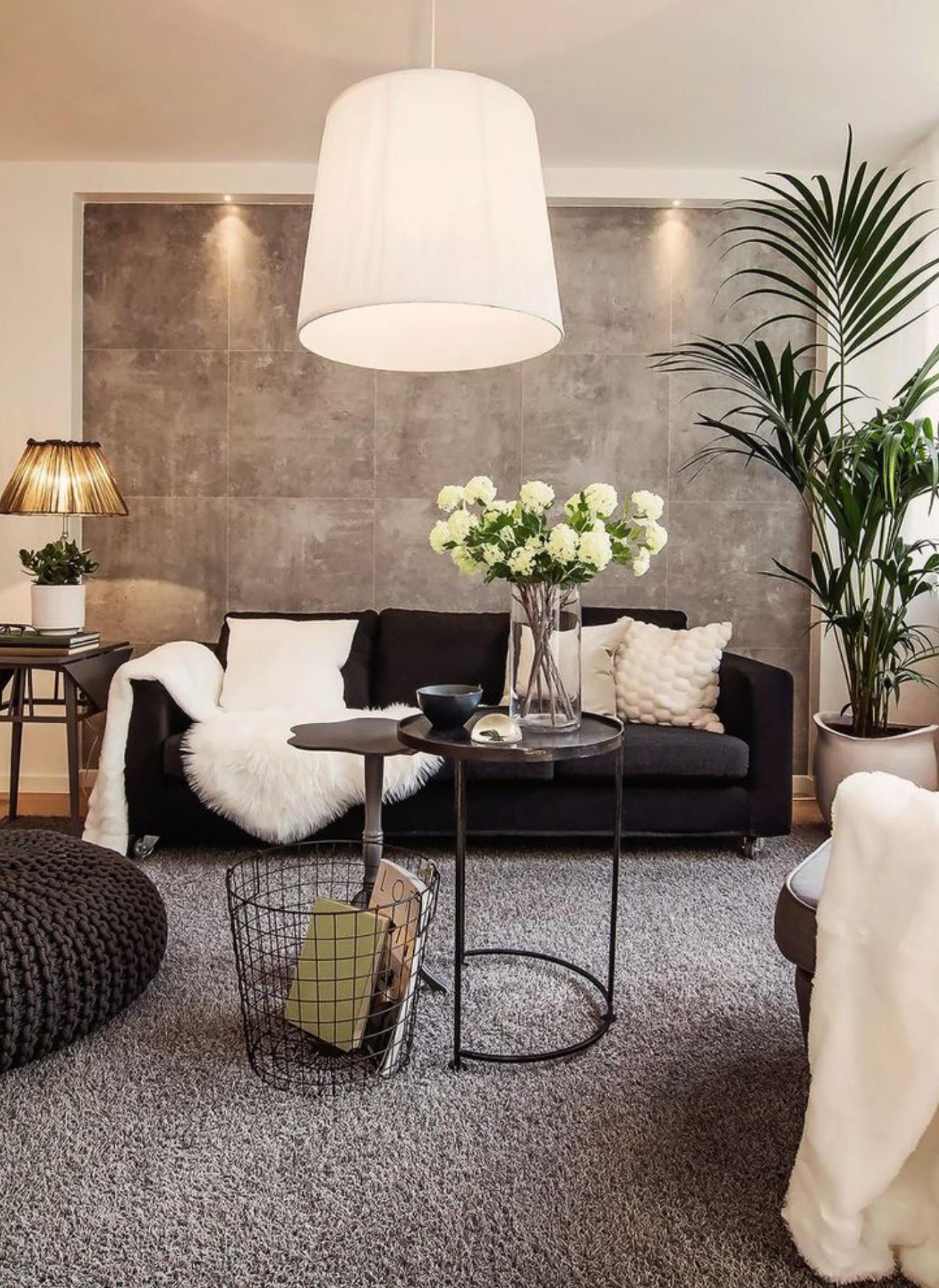 Deco Salon Canape Noir In 2020 White Living Room Decor Black And White Living Room Decor Black Couch Living Room