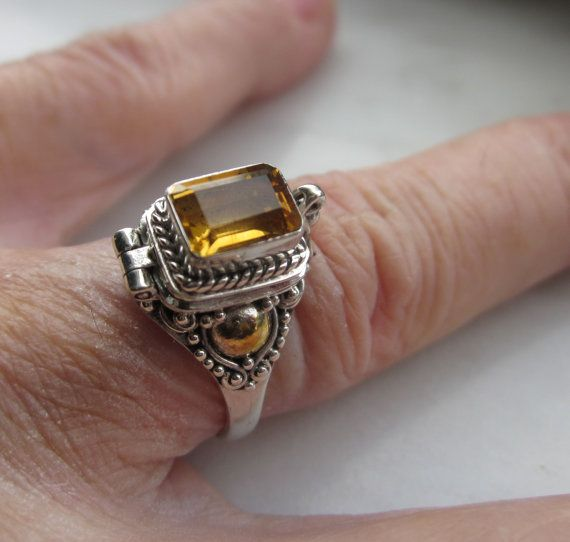Sterling citrine poison ring sz 7 8 and 9 by artsandadornments