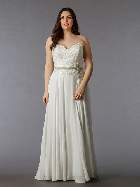 Vestido de novia corte imperio talla grande strapless corazón cinta ...