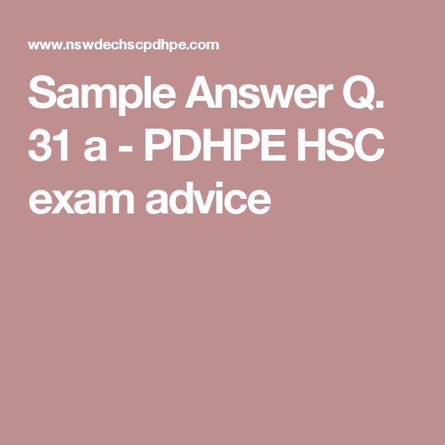 Sample Answer Q. 31 a - PDHPE HSC exam advice