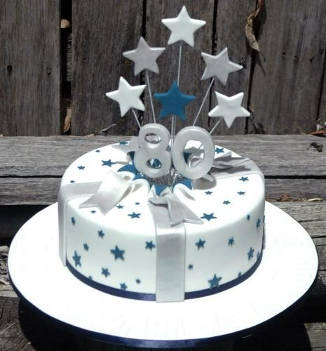 Remarkable Exploding Stars Silver Blue Cake 80 Birthday Cake Dad Funny Birthday Cards Online Hendilapandamsfinfo