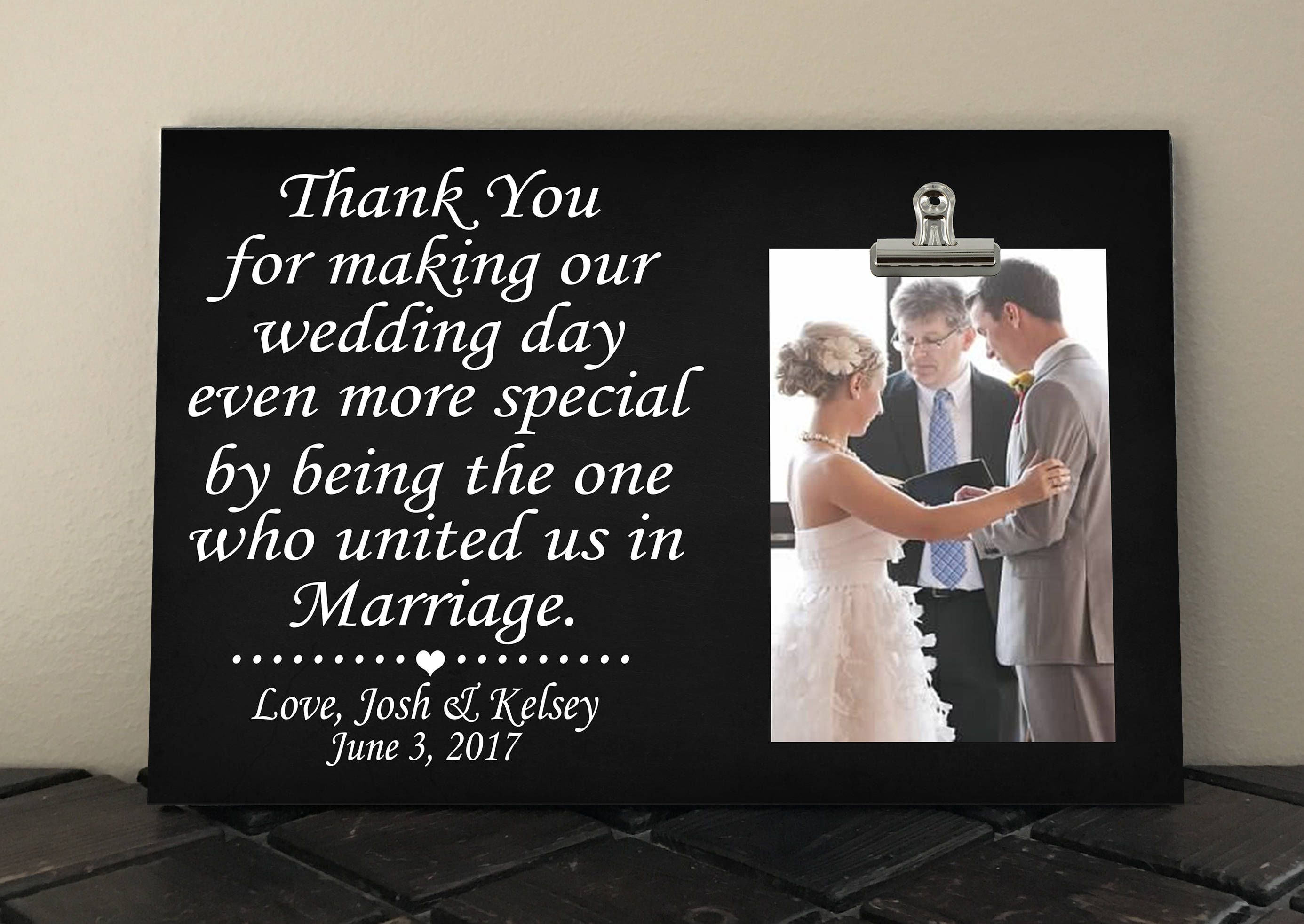 520ccfb855 WEDDING OFFICIANT GIFT, Free Design Proof and Personalization, Thank You  for making our Wedding even more special... united us in marriage by ...