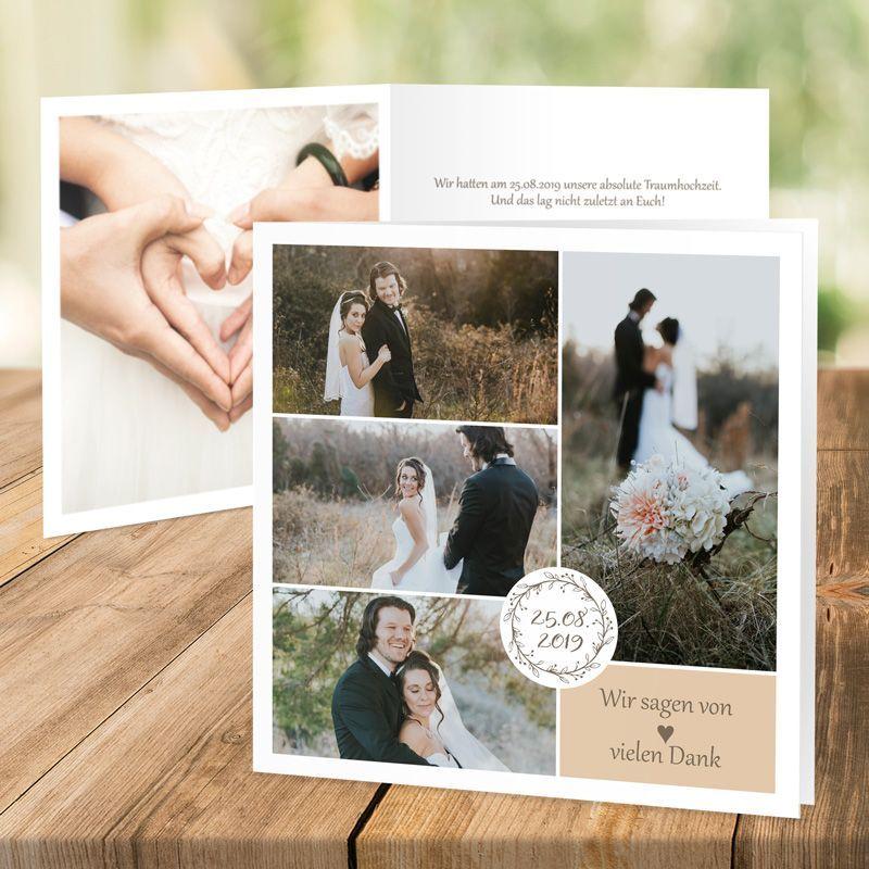 Dankeskarte Hochzeit Vintage Dreams: Platz Für 5 Fotos!
