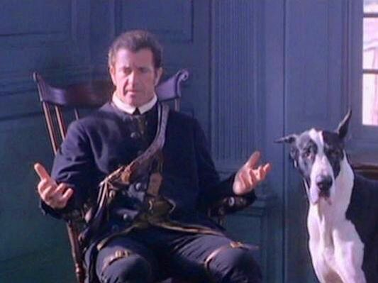 mel gibson with one of the two danes starring in the film