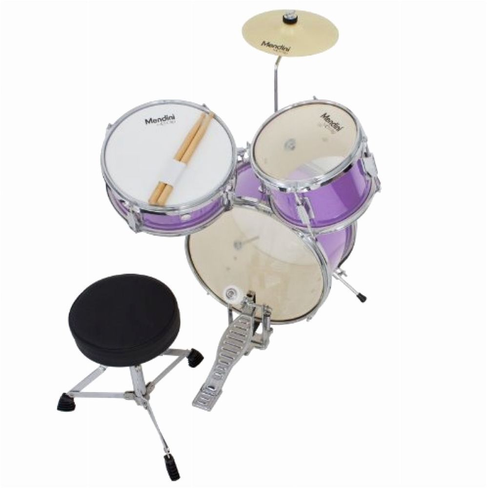 Kids Junior Drum Set Mendini Cecilio 13in 3pcs Adjustable Throne