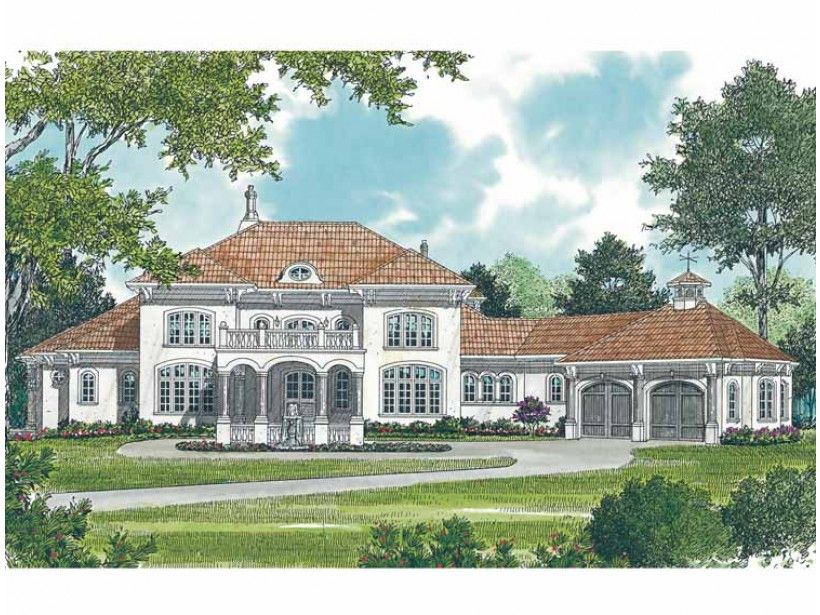 Eplans House Plan From The Porte Cochere Through Portico And Into Foyer With A Gorgeous Semi Circular Staircase This European Design Oozes