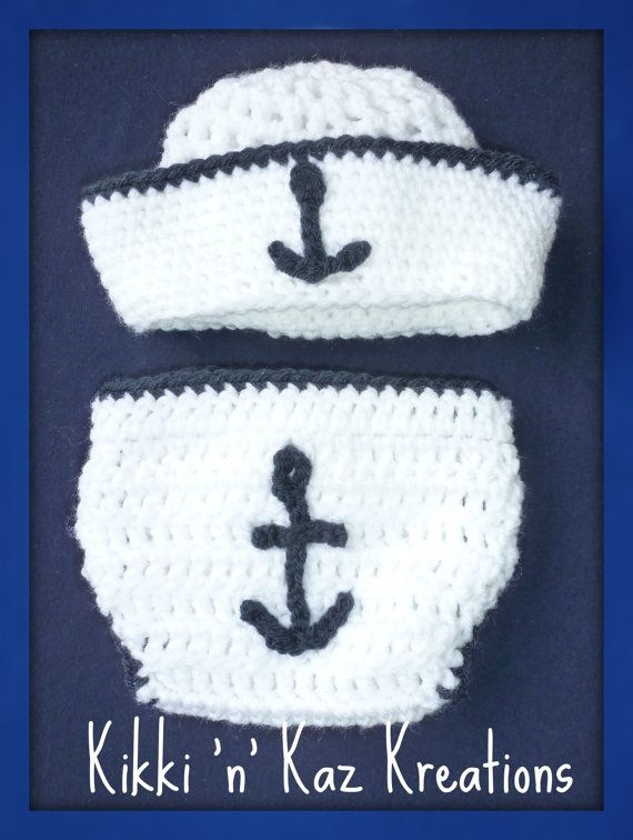 Crocheted Nautical baby Diaper Cover and by KikkinKazKreations ...