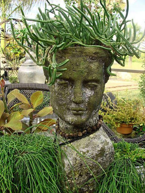 medusa hair succulent cactus planter - stone head planter - garden planter - garden decor