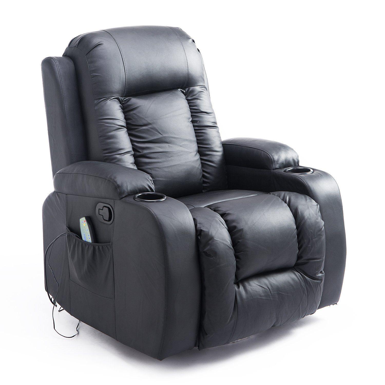 PU Leather Heated Vibrating Massage Swivel Recliner