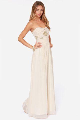 Cream and gold chiffon maxi dress
