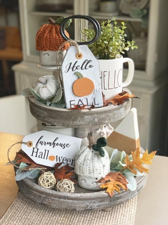 Photo of Hallo Herbst / Herbst Zeichen / Tiered Tablett Dekor / Bauernhaus Dekor / Herbst Dekor / Mini Halter