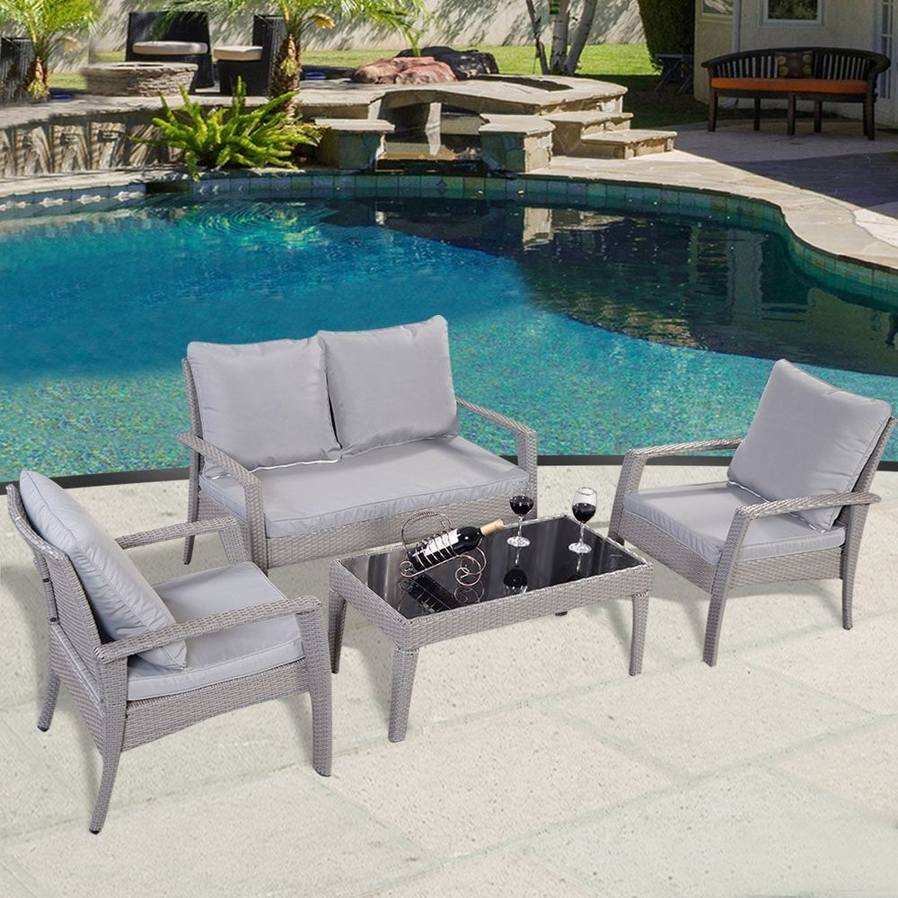 Rattan Patio Set Furniture Sofa Garden Coffee Table Chairs Outdoor ...